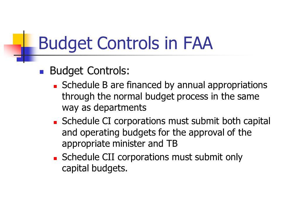 Budget Controls in FAA Budget Controls: