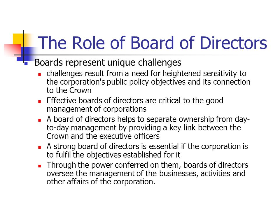The Role of Board of Directors