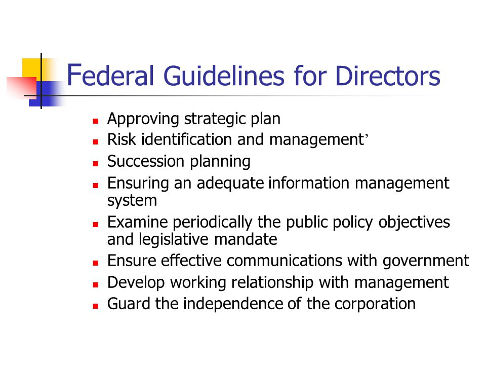 Federal Guidelines for Directors