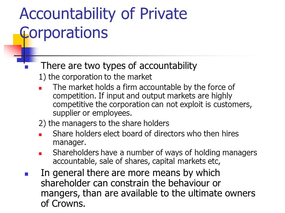 Accountability of Private Corporations