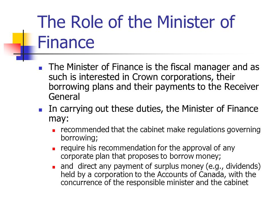 The Role of the Minister of Finance