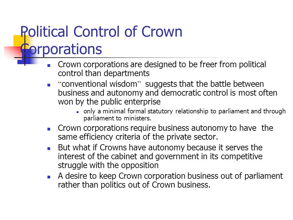 Political Control of Crown Corporations