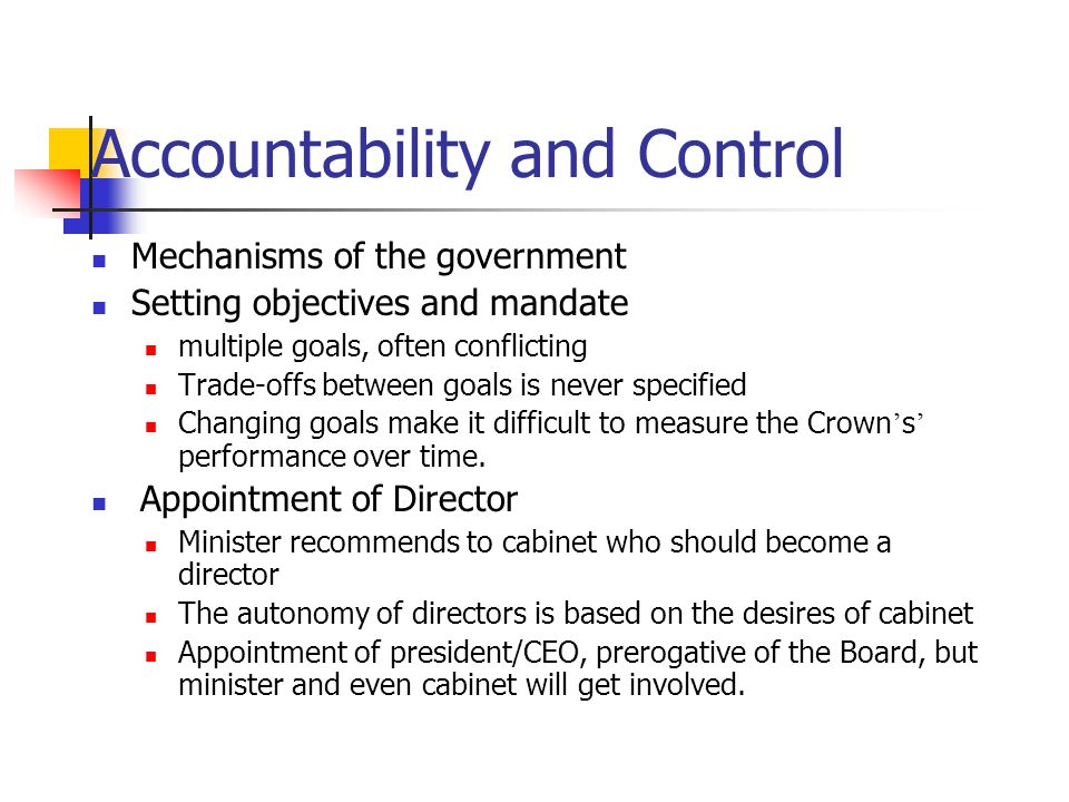 Accountability and Control