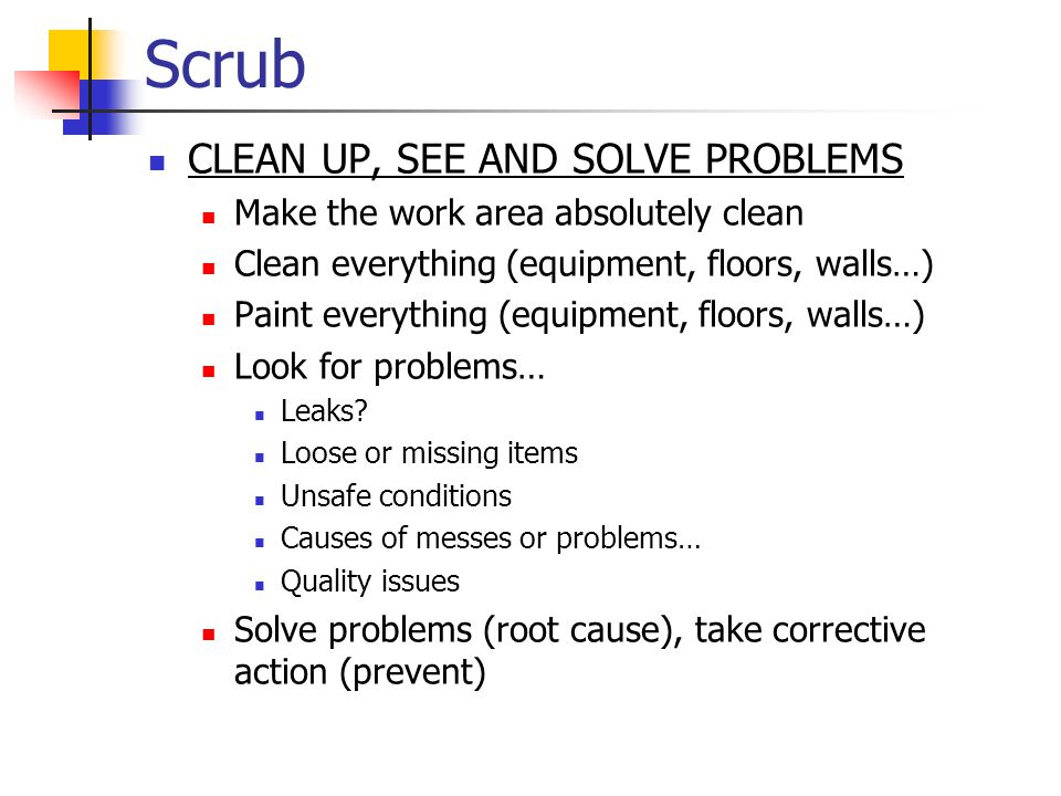 Scrub CLEAN UP, SEE AND SOLVE PROBLEMS