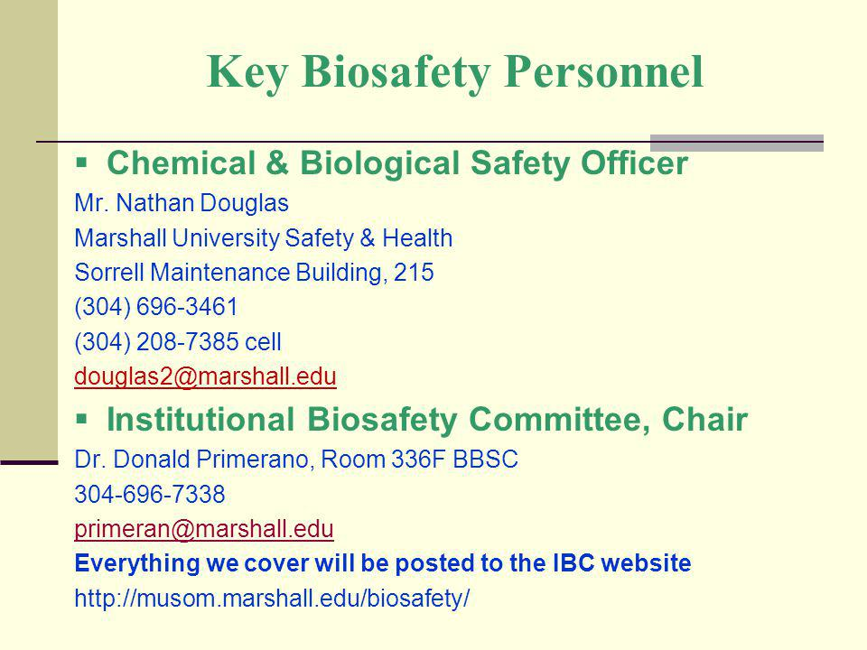 Key Biosafety Personnel