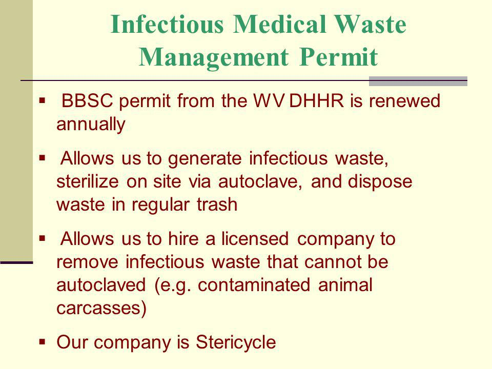 Infectious Medical Waste Management Permit