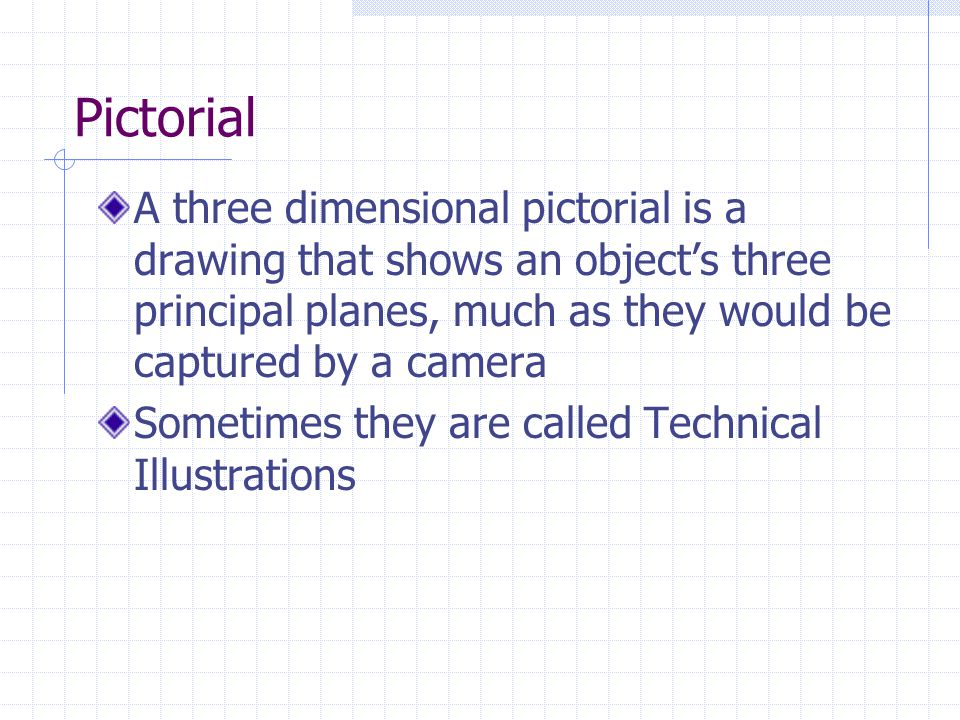 Pictorial A three dimensional pictorial is a drawing that shows an object's three principal planes, much as they would be captured by a camera.