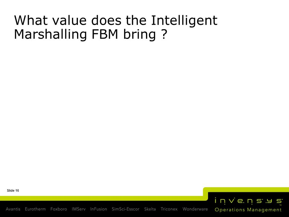 What value does the Intelligent Marshalling FBM bring