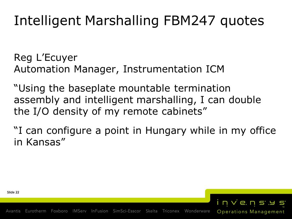 Intelligent Marshalling FBM247 quotes