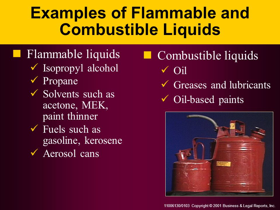 Examples of Flammable and Combustible Liquids