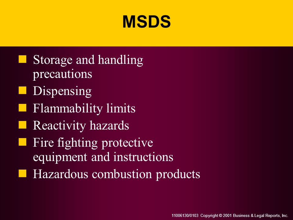 MSDS Storage and handling precautions Dispensing Flammability limits
