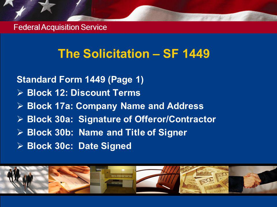 The Solicitation – SF 1449 Standard Form 1449 (Page 1)