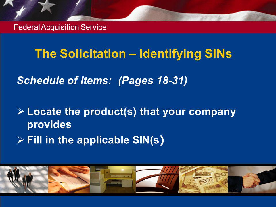 The Solicitation – Identifying SINs