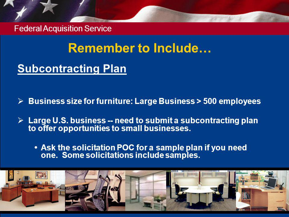 Remember to Include… Subcontracting Plan
