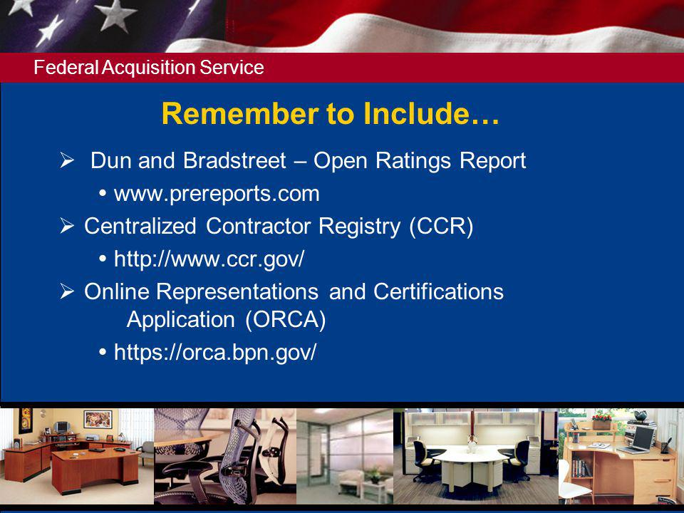 Remember to Include… Dun and Bradstreet – Open Ratings Report
