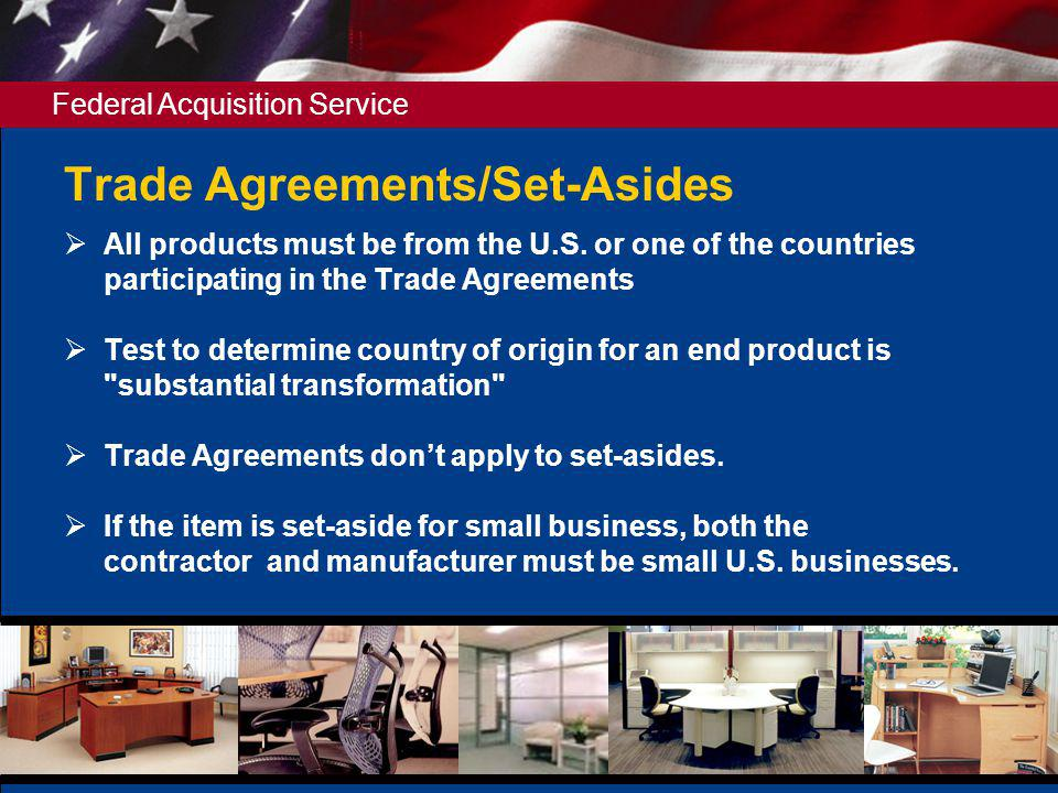 Trade Agreements/Set-Asides