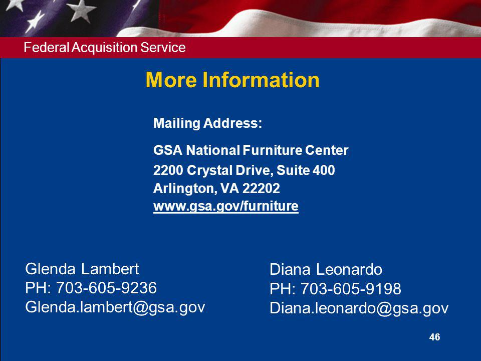 Mailing Address: GSA National Furniture Center