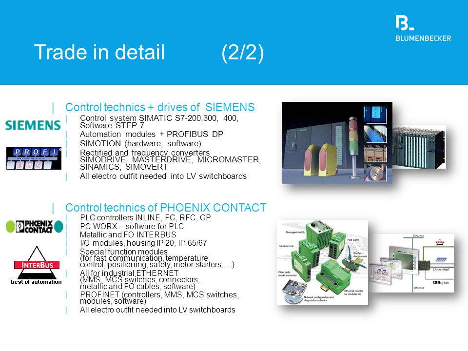 Trade in detail (2/2) Control technics + drives of SIEMENS