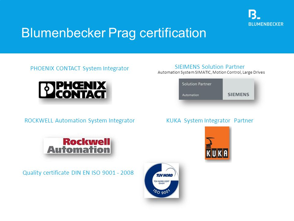 Blumenbecker Prag certification
