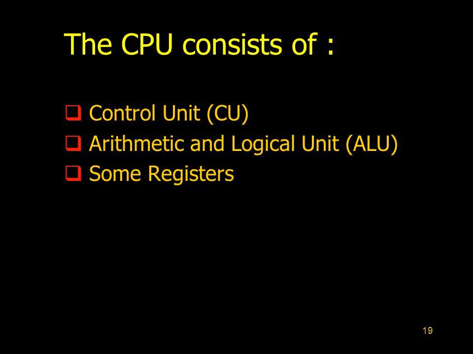 The CPU consists of : Control Unit (CU)