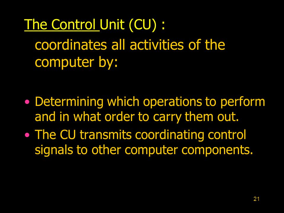 coordinates all activities of the computer by: