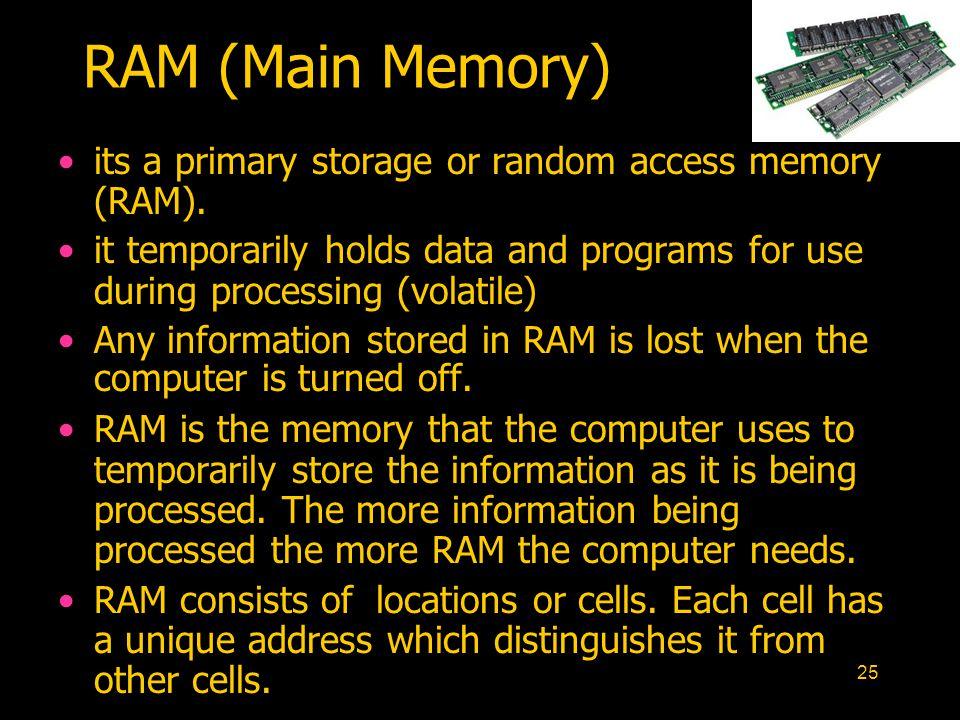 RAM (Main Memory) its a primary storage or random access memory (RAM).