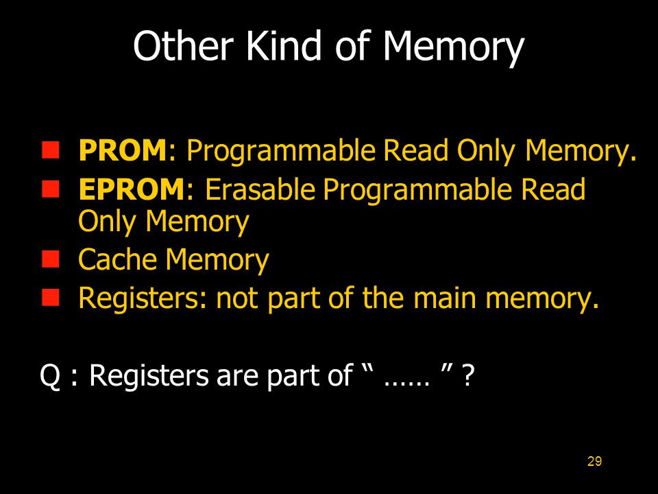 Other Kind of Memory PROM: Programmable Read Only Memory.