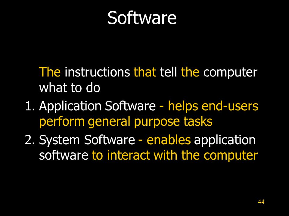 Software The instructions that tell the computer what to do