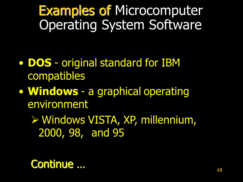 Examples of Microcomputer Operating System Software
