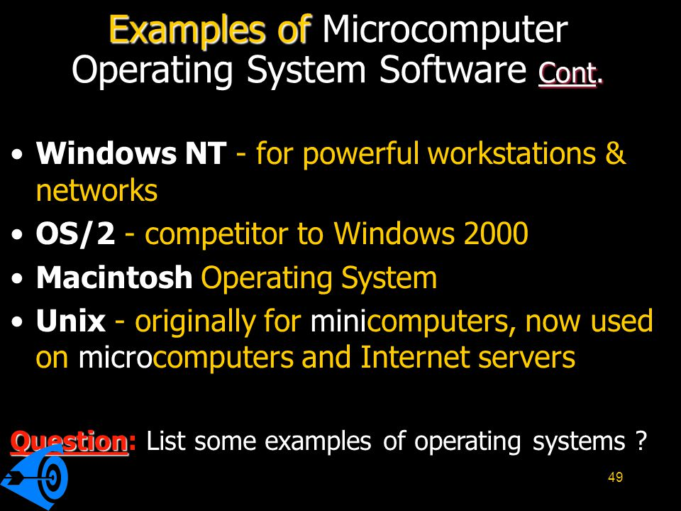 Examples of Microcomputer Operating System Software Cont.