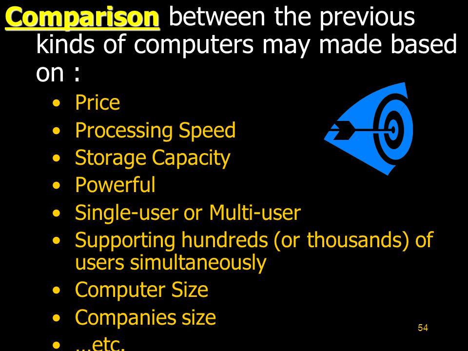 Comparison between the previous kinds of computers may made based on :