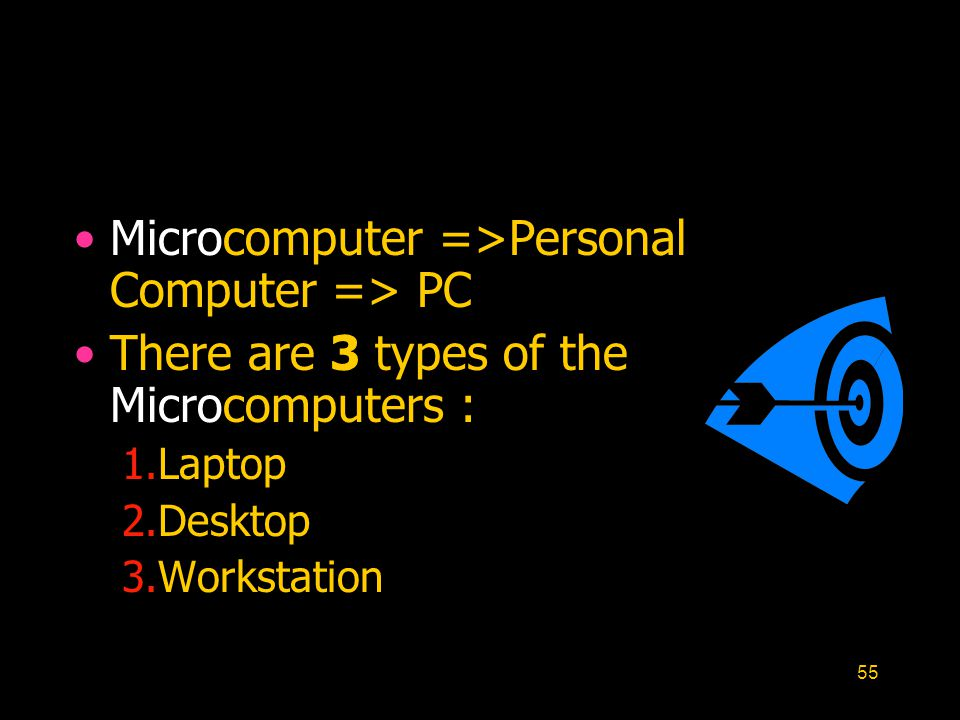 Microcomputer =>Personal Computer => PC