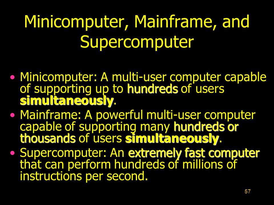 Minicomputer, Mainframe, and Supercomputer