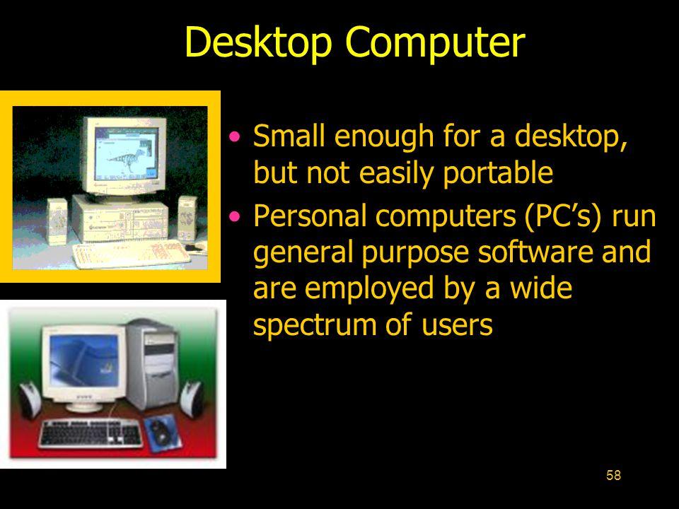 Desktop Computer Small enough for a desktop, but not easily portable