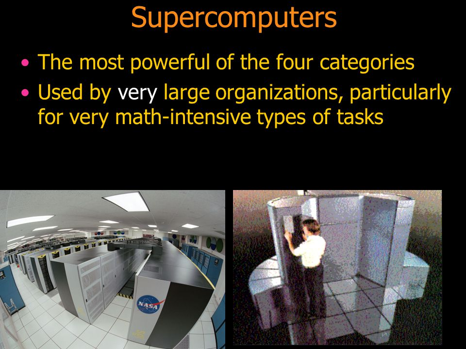 Supercomputers The most powerful of the four categories