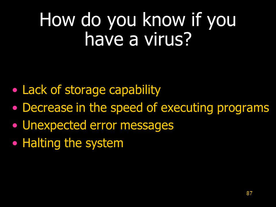How do you know if you have a virus