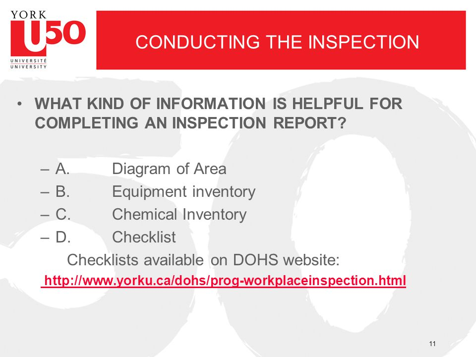CONDUCTING THE INSPECTION