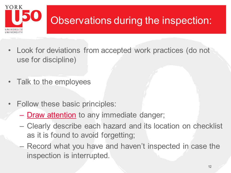 Observations during the inspection: