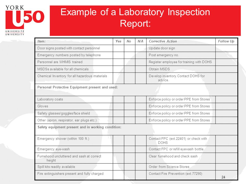Example of a Laboratory Inspection Report: