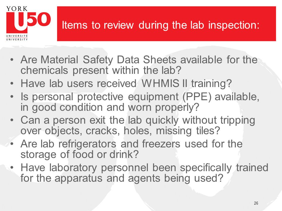 Items to review during the lab inspection: