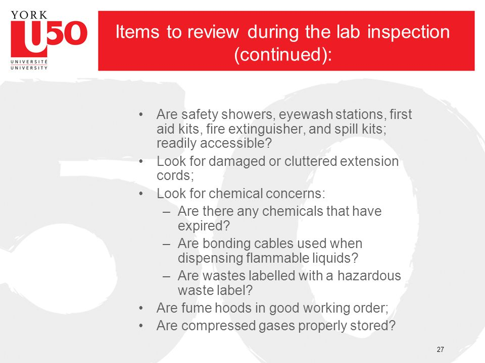 Items to review during the lab inspection (continued):