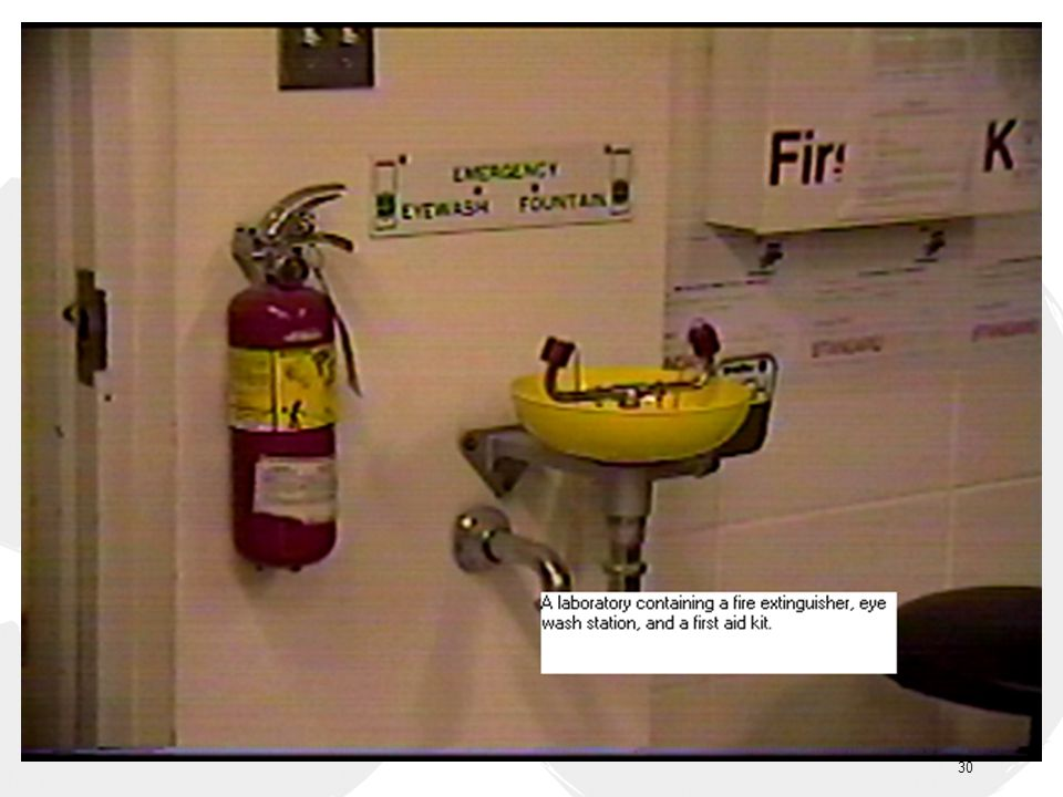Laboratory fire extinguisher, eye wash station and first aid kit shall be checked regularly to ensure proper maintenance.