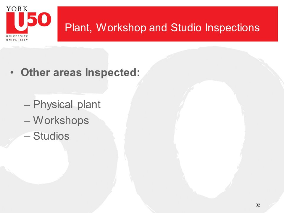Plant, Workshop and Studio Inspections