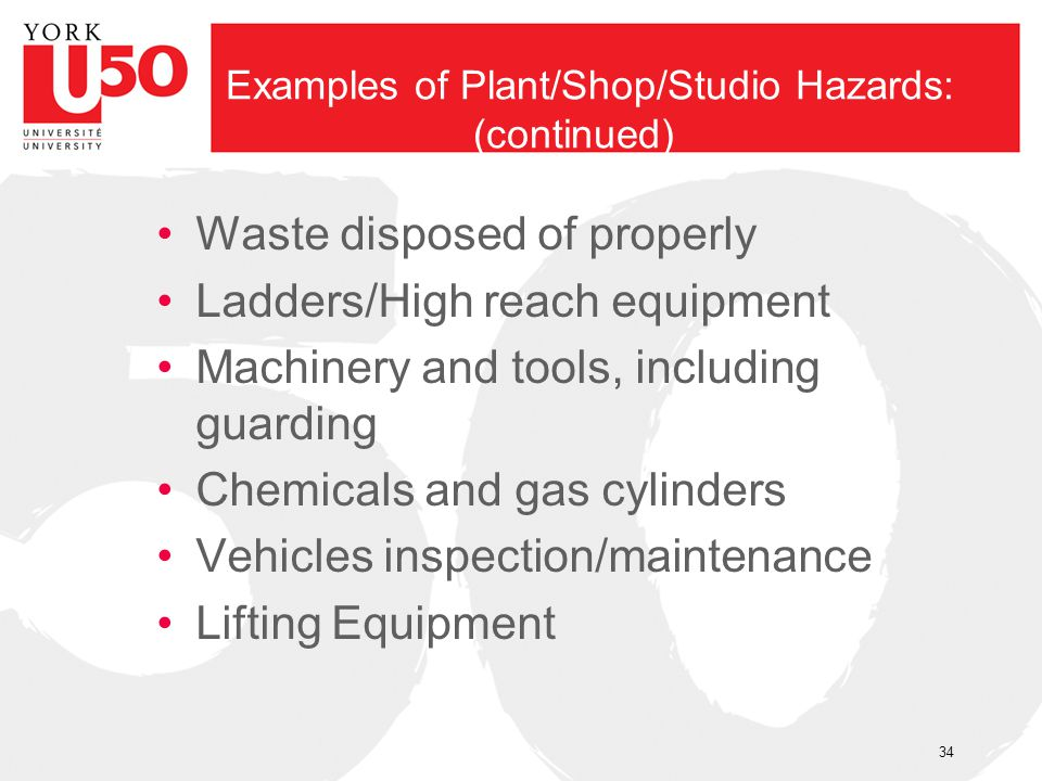 Examples of Plant/Shop/Studio Hazards: (continued)