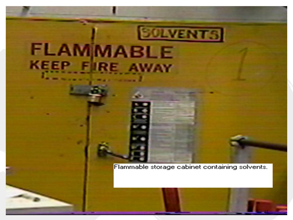 -A flammable material storage cabinet: Flammable materials shall be stored in fire proof cabinets.