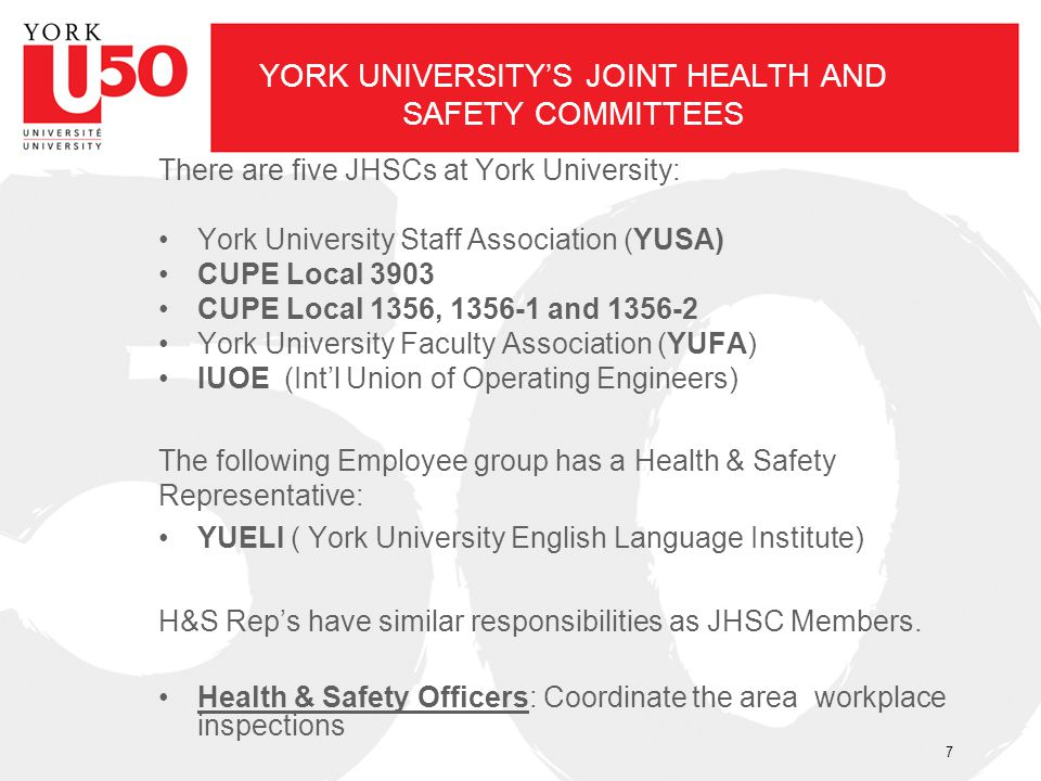 YORK UNIVERSITY'S JOINT HEALTH AND SAFETY COMMITTEES