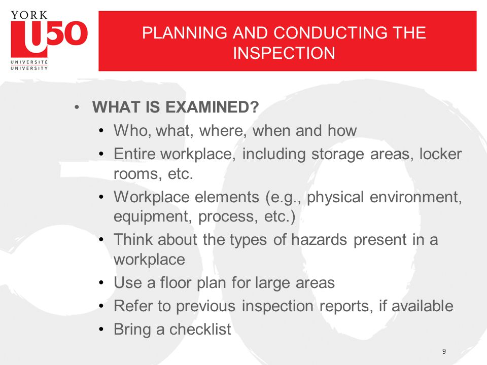 PLANNING AND CONDUCTING THE INSPECTION