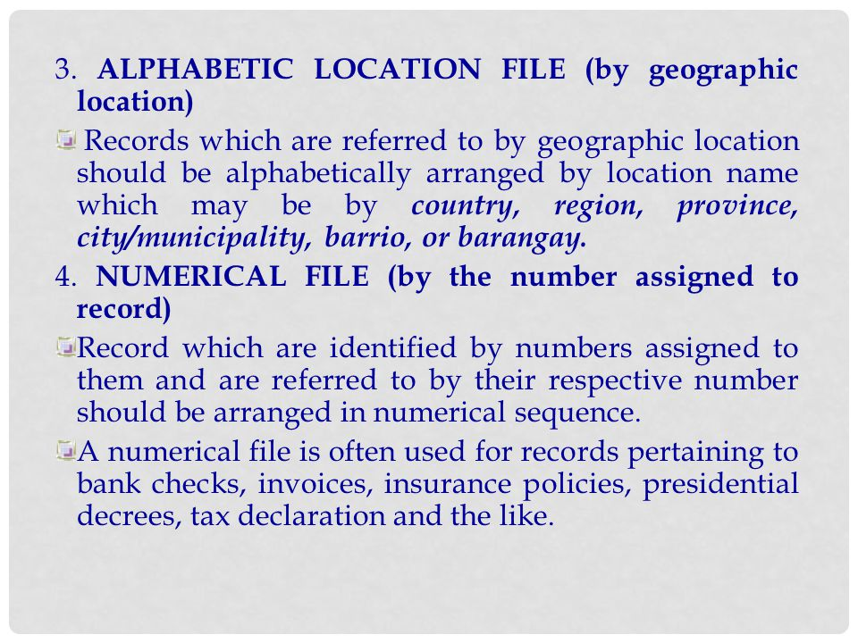 3. ALPHABETIC LOCATION FILE (by geographic location)