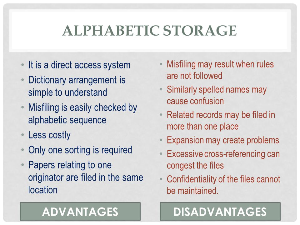 Alphabetic storage ADVANTAGES DISADVANTAGES