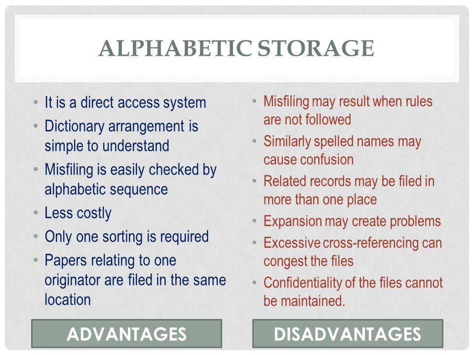 Alphabetic storage ADVANTAGES DISADVANTAGES